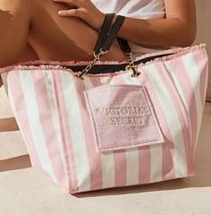 Victorias Secret velká pruhovaná plátěná taška