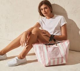Victorias Secret pruhovaná plážová taška