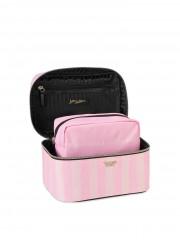 Pruhovaný kosmetický kufřík a taštička