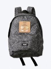 VS PINK šedý melírovaný batoh s odznáčky