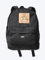 Victorias Secret PINK černý batoh s odznáčky