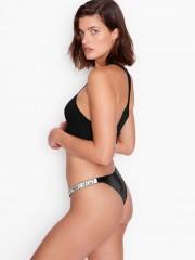 Victorias Secret sexy černé kalhotky s kamínky