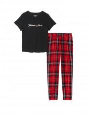 VS pyžamo černé triko červené kárované kalhoty