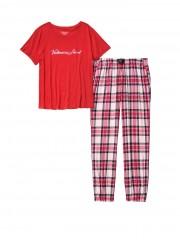 Dámské módní pyžamo s károvanými kalhoty