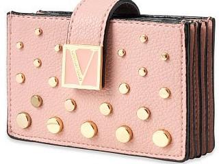 Victorias Secret růžové pouzdro na karty a doklady se zlatými detaily