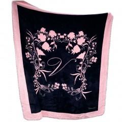 Victorias Secret hebká černá deka s květinovým vzorem