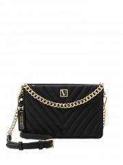 Victorias Secret černá luxusní kabelka se zlatými detaily