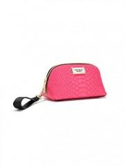 Malá kosmetická taška růžová s imitací hadí kůže