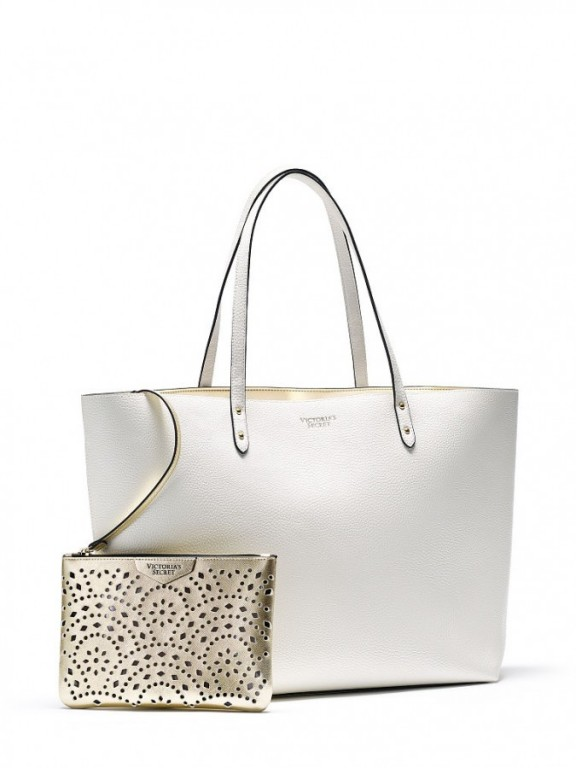 Luxusní bílá koženková taška Bombshell Tote