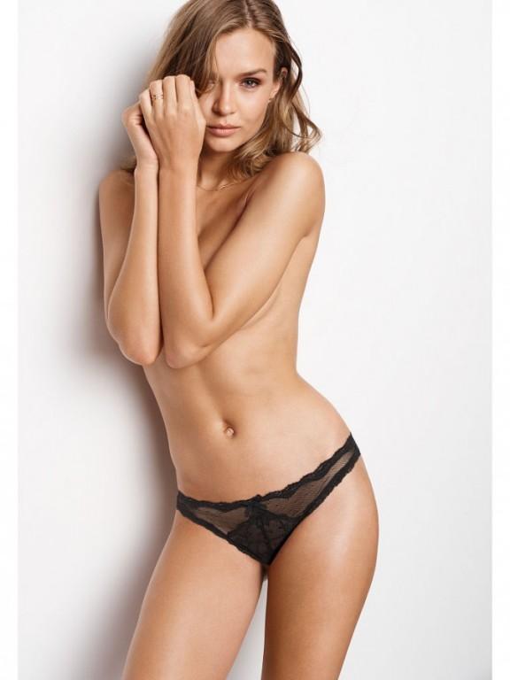 Victoria's Secret luxusní sexy kalhotky Lace & Dot Mesh Cheekini černé