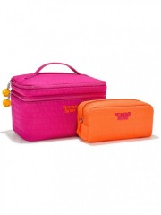 Duo kosmetických taštiček Train Case Duo růžová oranžová