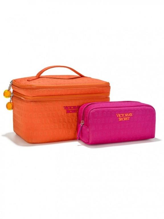 Set kosmetických taštiček Victoria's Secret Train Case Duo oranžový