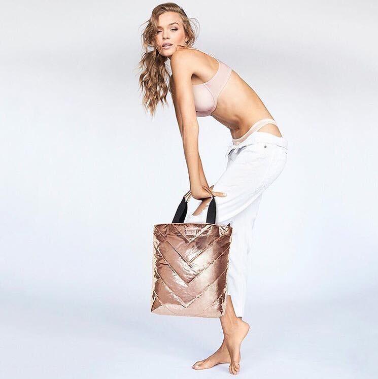 Metalická taška Victoria's Secret Rose Gold Tote