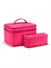 Duo kosmetický tašek v imitaci hadí kůže růžové