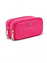 Růžová kosmetická taška se zapínáním na zip