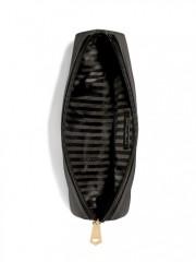 Černá kosmetická taštička s pruhovaným vnitřním prostorem
