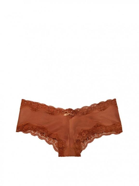 Victoria's Secret luxusní brazilské kalhotky Lace-trim Cheeky Panty hnědé
