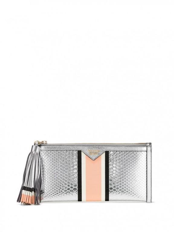 Psaníčko Victoria's Secret Luxe Python Clutch stříbrné