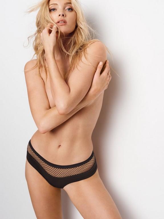 Bezešvé sexy brazilky Fishnet Raw Cut Cheeky Panty černé
