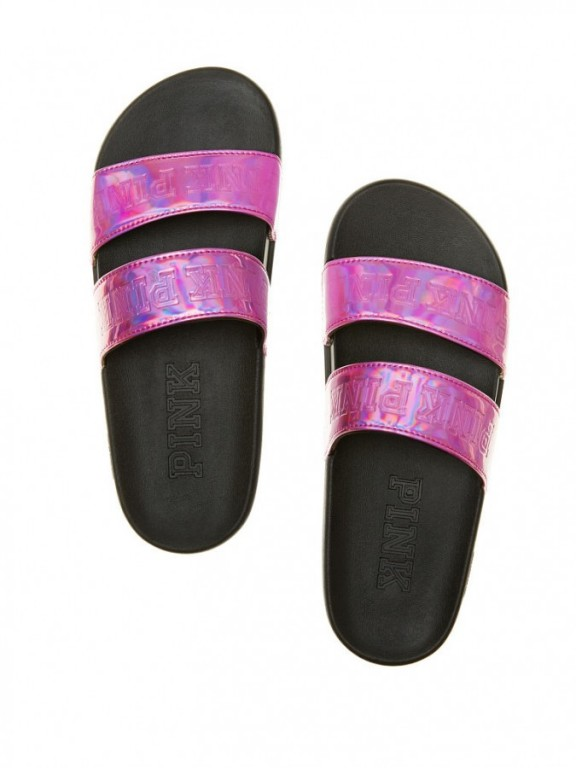 Pantofle Victoria's Secret PINK Double Strap Slide růžové