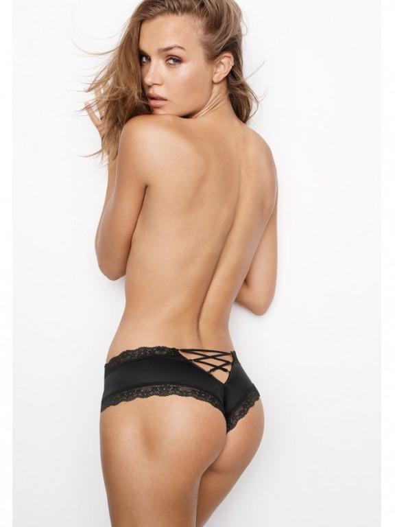 Luxusní sexy brazilské kalhotky Lace-up Cheeky Panty černé