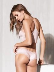 Luxusní brazilské kalhotky Lace-trim cheeky světle růžové