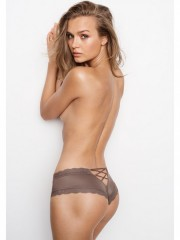 Sexy brazilské kalhotky Lace-up Cheeky Dark Iron