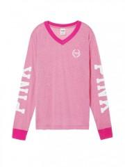 Tričko s dlouhým rukávem a nápisy PINK