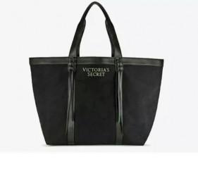 Černá plátěná taška s koženkovými detaily