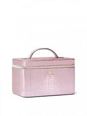 Metalicky růžový kufřík Luxe Python Runway Vanity Case