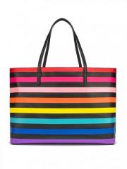 Prostorná taška s pruhy v barvách duhy