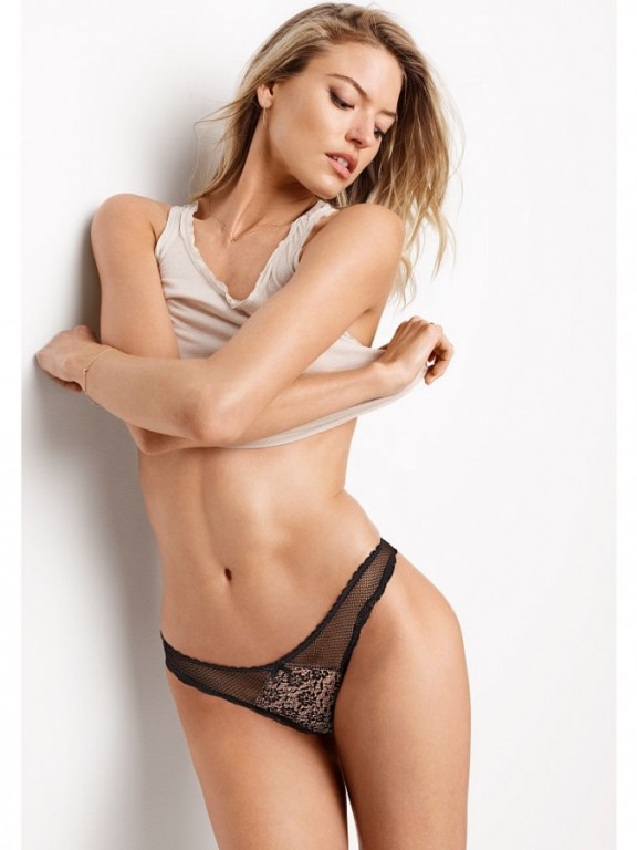 Victoria's Secret luxusní černá tanga Lace-trim Thong Panty