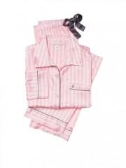 Pruhované luxusní saténové pyžamo Victorias Secret