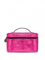 Růžový kosmetický kufřík s malou taštičkou