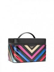 Černý kosmetický kufřík s barevnými metalickými pruhy