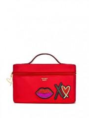 Červený nylonový kufřík s malou taštičkou