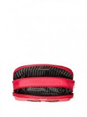 Červená kosmetická taštička na dvě přihrádky