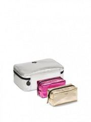 Metalický stříbrný kufřík se dvěma malými taštičkami