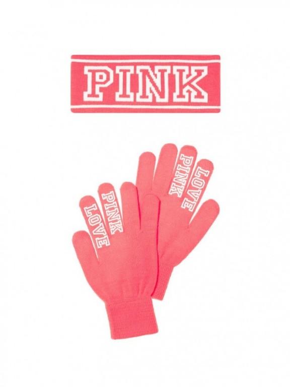 Victoria's Secret PINK zimní set rukavice + čelenka