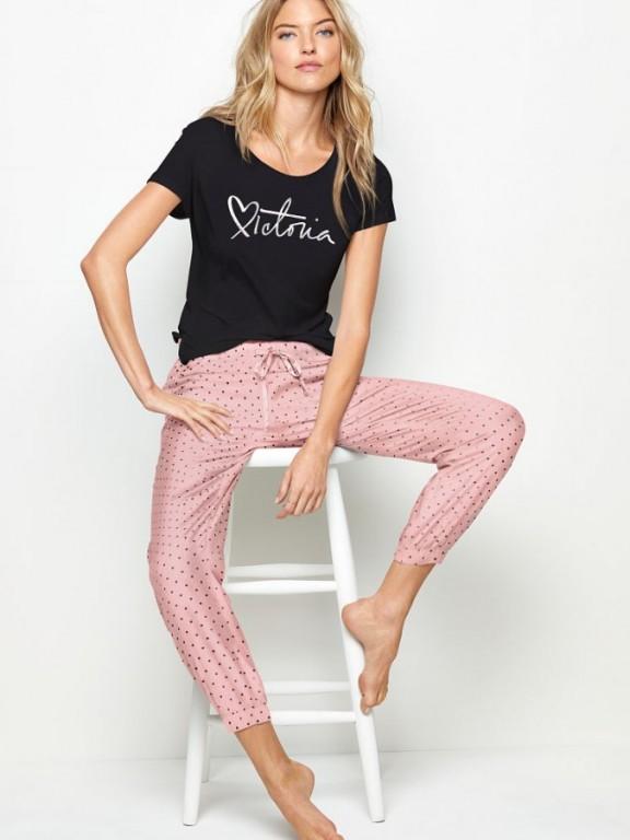 Victoria's Secret pohodlné pyžamo Scoopneck Graphic Tee + Print Flannel Jogger