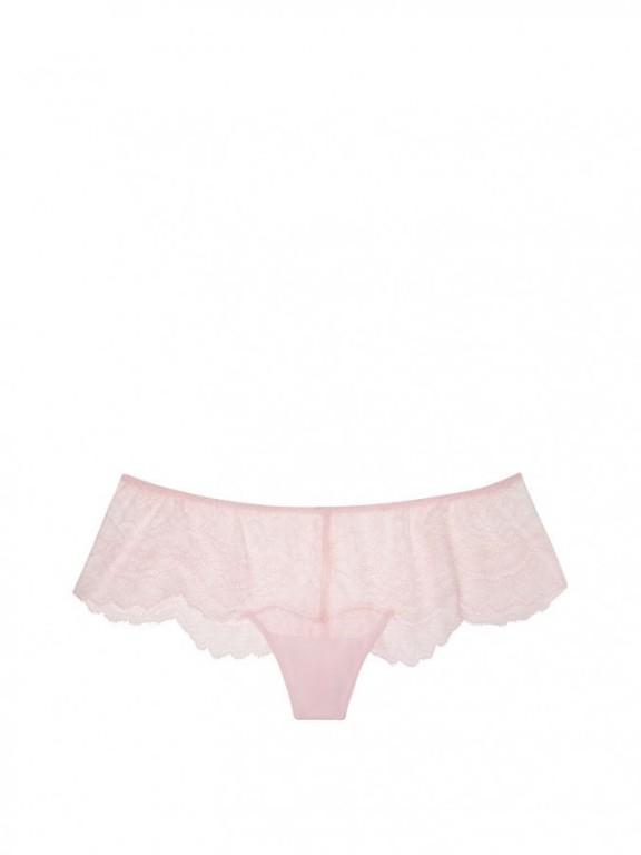 Victoria's Secret luxusní krajkové kalhotky Chantilly Hipster Thong Panty růžové