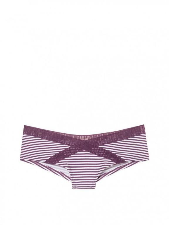Victoria's Secret PINK bokové kalhotky Mesh Logo Cheekster pruhované