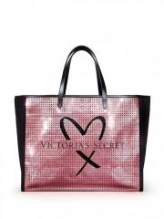 Černá plátěná taška zdobená růžovými flitry