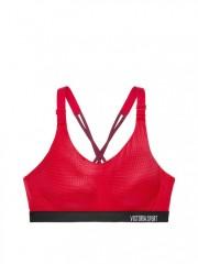 Červená sportovní podprsenka s rafinovaným řešením ramínek