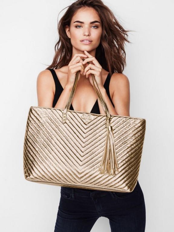 Luxusní zlatá kabelka Victoria's Secret Metallic Crackle Everything Tote