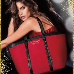 Červená plátěná taška s koženkovými detaily
