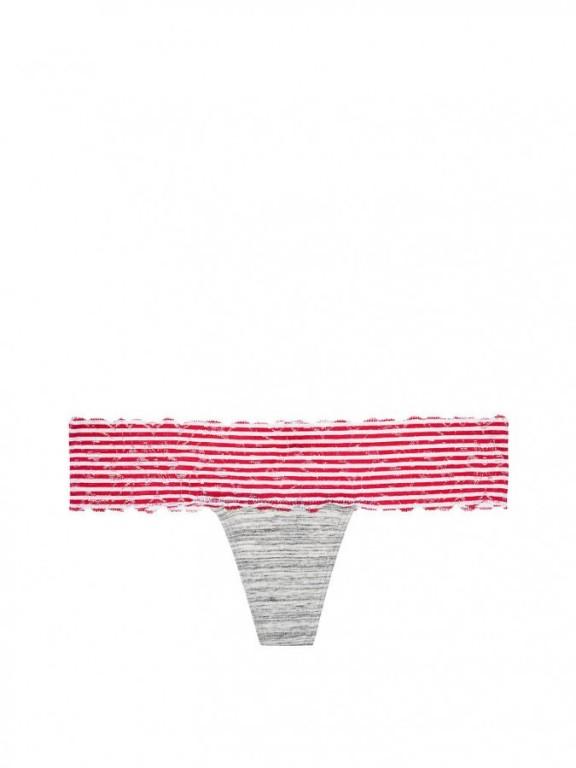 Victoria's Secret pohodlná tanga Floral Lace Trim Thong Panty