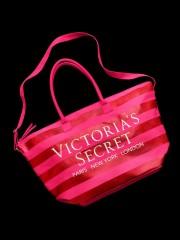 Velká růžová pruhovaná taška Victorias Secret
