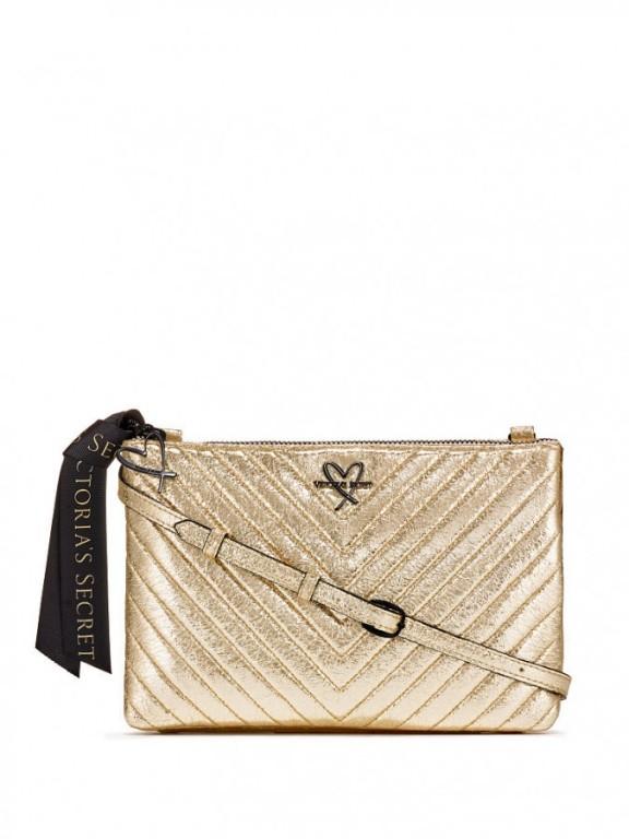 Luxusní zlatá kabelka Metallic Crackle Glam Crossbody