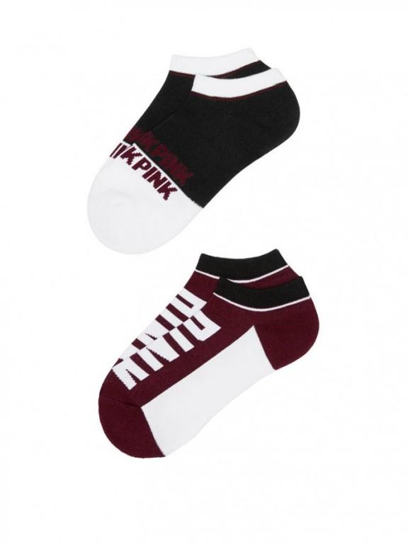 Victoria's Secret PINK kotníkové ponožky Ultimate Low Show Socks vínové